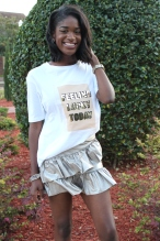 Have you ever found yourself wasting tons of time trying to figure out what to wear? Try wearing a graphic t-shirt and a mini skirt. It's the perfect quick and easy look to wear on campus for style and comfort.